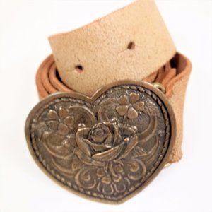 River Island S M Heart Floral Brass Belt Buckle
